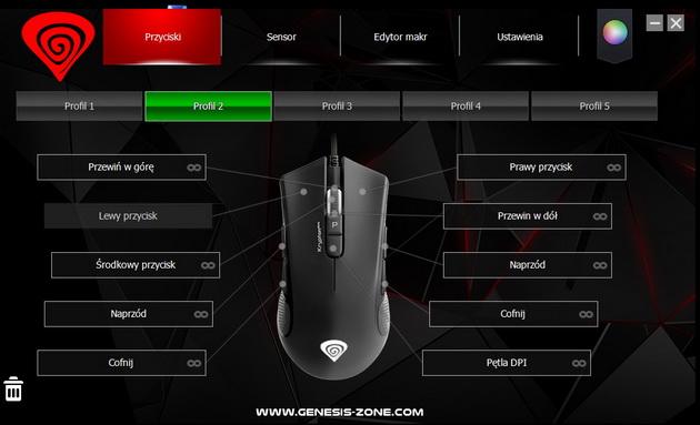 Genesis Krypton 800 - ustawienia przycisków