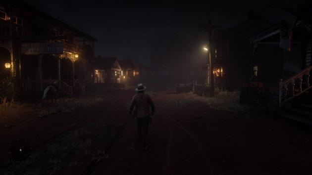 Red Dead Redemption 2 - klimatyczne westernowe miasteczko nocą