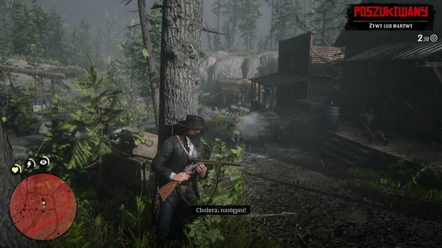 Red Dead Redemption 2 - schowany za drzewem