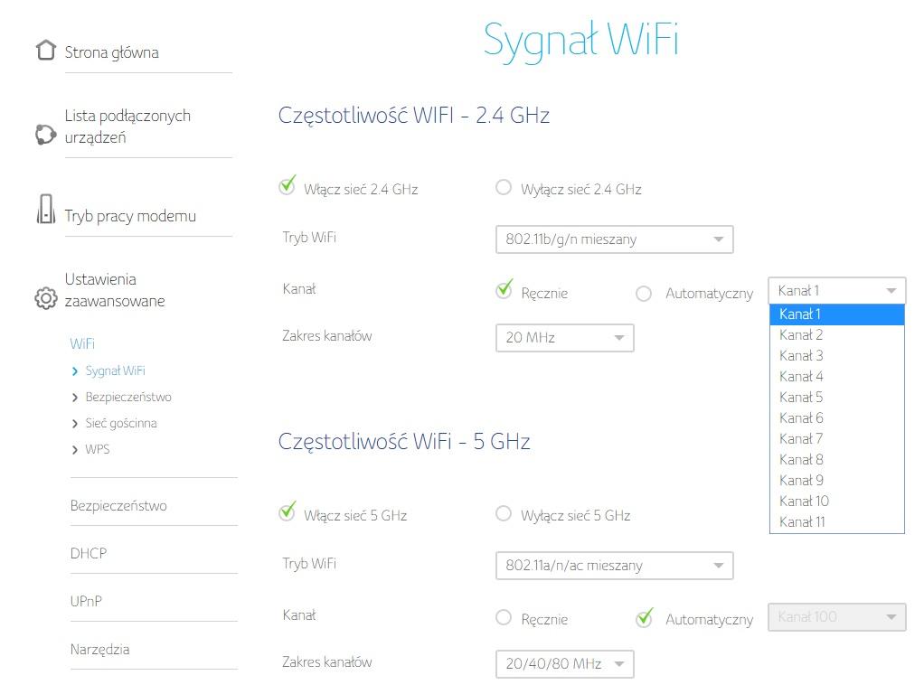 Ustawienia Wi-Fi