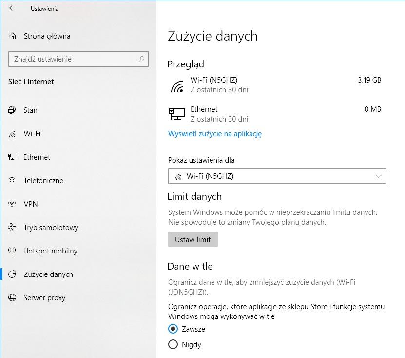 Windows 10 zużycie Wi-Fi