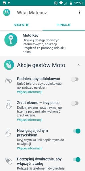 Motorola Moto G6 aplikacja Moto