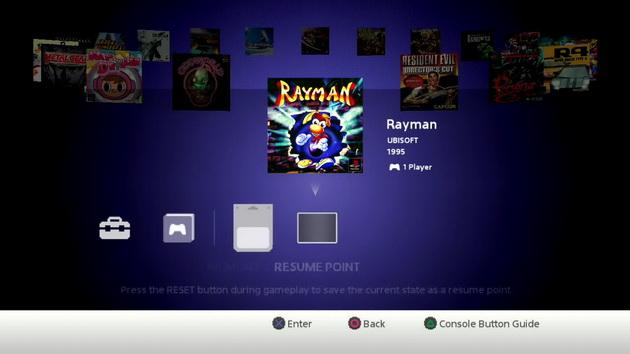 PlayStation Classic - menu konsoli