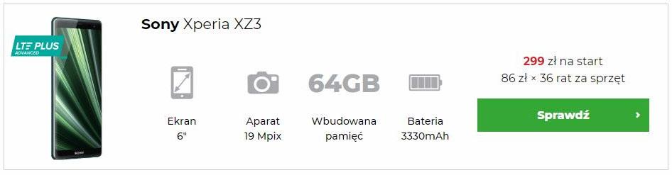 Sony Xperia XZ3 w abonamencie