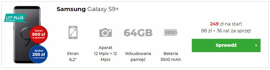Samsung Galaxy S9+ w abonamencie