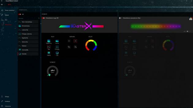Creative Sound BlasterX AE-5 - Sound Blaster Connect - opcje zmiany podświetlenia