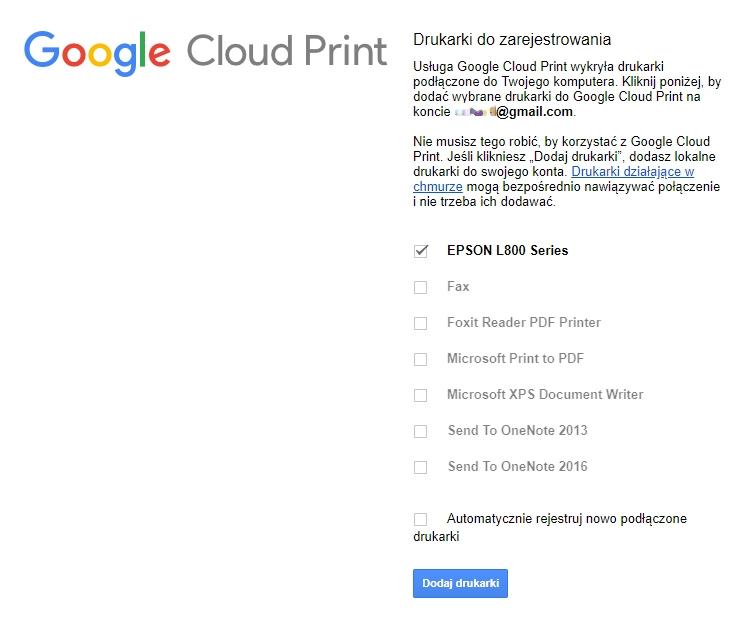Dodawanie drukarki do Google Cloud Print lista
