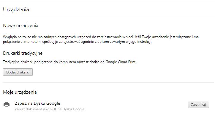 Dodawanie drukarek Google Cloud Print