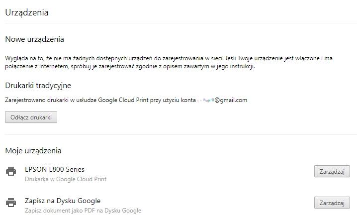 Drukarki dostępne przez Google Print Cloud