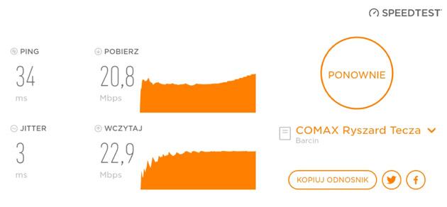 Zmierz szybkość internetu w telefonie - Speedtest 1