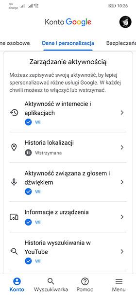 Google - zarządzanie danymi