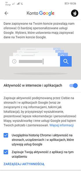 Google - zarządzanie aktywnością w internecie