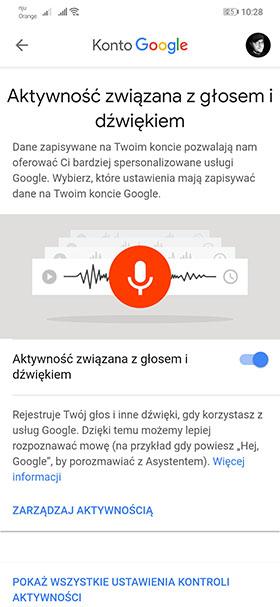 Google - dane głosu