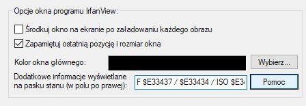 IrfanView opcje wyświetlanie ExiF