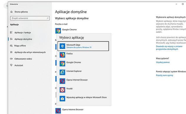 Wybór domyślnej przeglądarki w systemie Windows