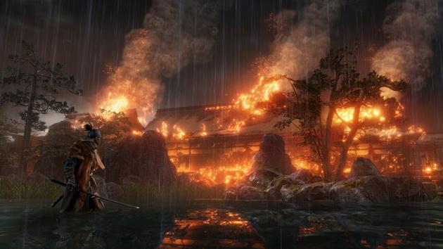 Sekiro: Shadows Die Twice - płonąca wioska