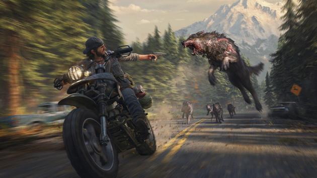 Days Gone - wilki atakujące motocykl