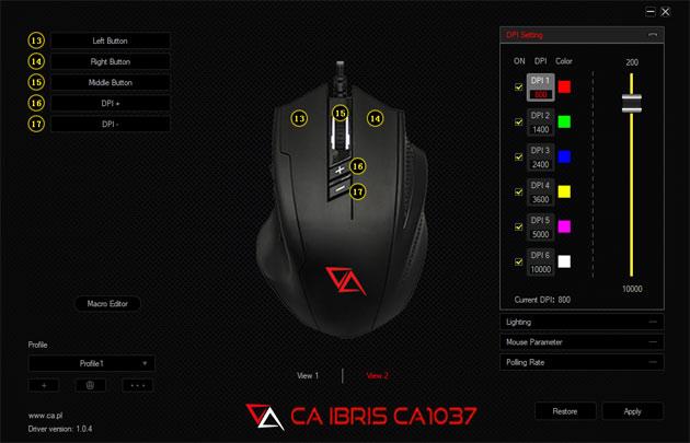 Oprogramowanie myszki - dostosowanie kolorów