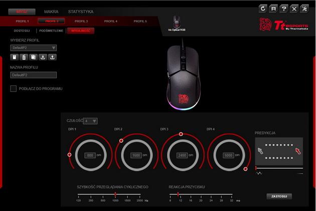 Tt esports IRIS Optical RGB - ustawienia czułości myszy