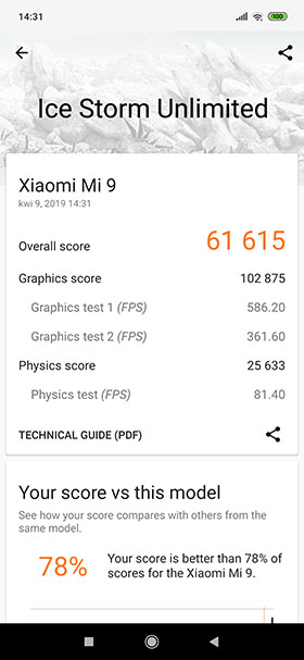 Xiaomi Mi 9 - 3DMark Ice Storm Unlimited