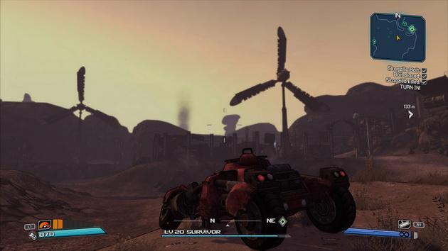 Borderlands: Game of the Year Edition - samochód na tle wschodzącego słońca