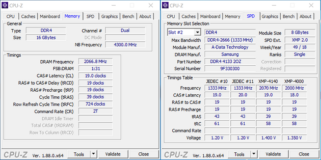 RAM ADATA XPG SPECTRIX D80 - CPU-Z