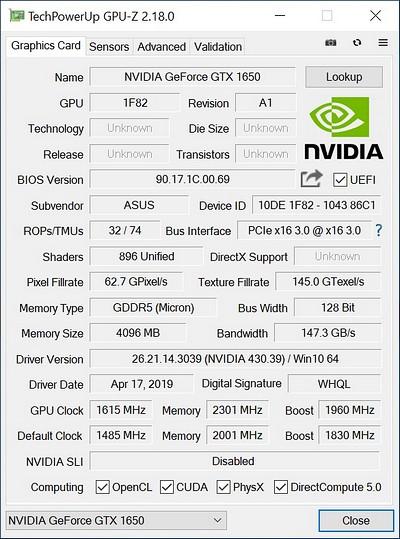ASUS ROG STRIX O4G Gaming GTX 1650 - OC