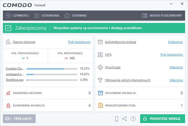 Comodo Free Firewall - dobry darmowy firewall
