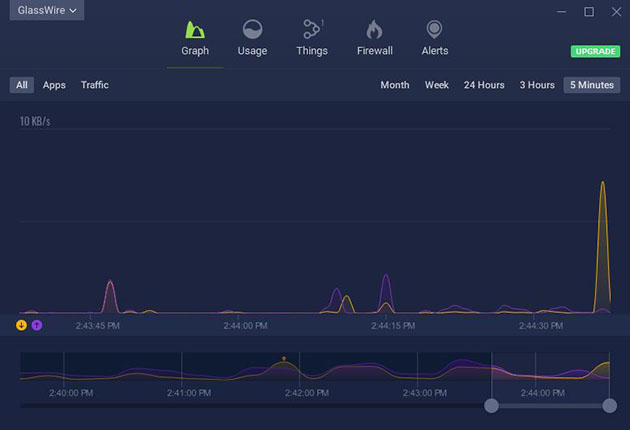 GlassWire Free Firewall tryb nocny