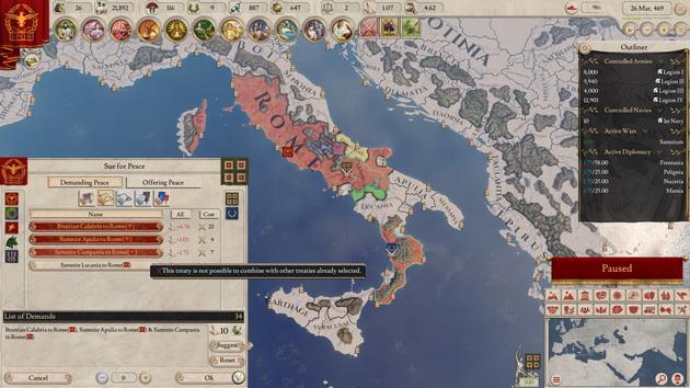 Imperator: Rome - zawieranie pokoju