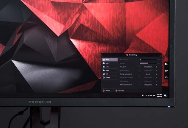 Acer Predator XB3 (XB273K) menu główne