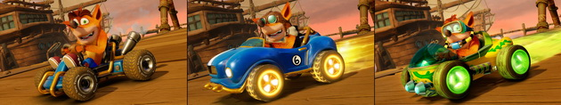 Crash Team Racing Nitro_Fueled - różne stroje i pojazdy Crasha