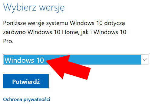 wybierz Windows 10