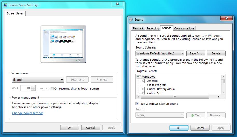 Ustawienia wygaszacza ekranu i dźwięków w Windows 7