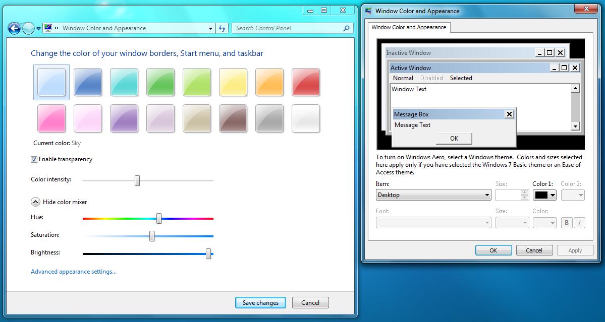 Ustawienia okien w Windows 7